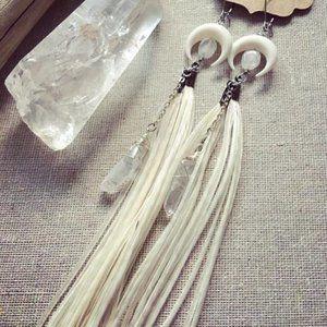 Handmade Boho Feather and Crystal Earrings